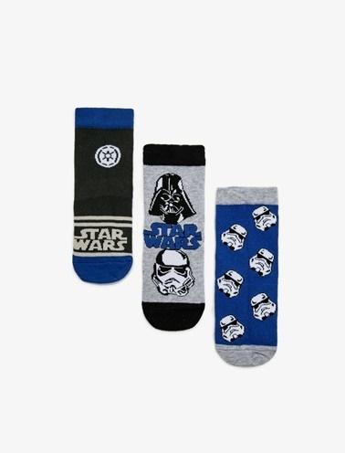 Koton Kids 3'lü Star Wars Lisansli Baskili Çorap Mavi